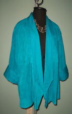Supple! SUEDE Leather Open Draped La Matta Italy 3/4 Slv JACKET Bust:  46 in.