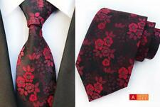 Red Black Mens Tie Flower Patterned Handmade 100% Silk Wedding Necktie 8cm Width