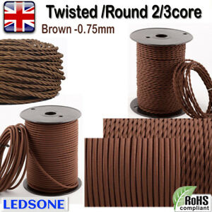 Twisted/Round Vintage Brown Fabric Coloured Lighting Cable Flex 2/3 Core 0.75mm