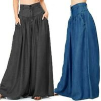 Women Loose Plus Size Culottes Oversize High Waist Skirt Pants Wide Leg Trousers