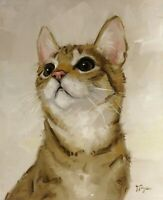 Original Oil painting - portrait of a tabby cat by uk artist  j payne