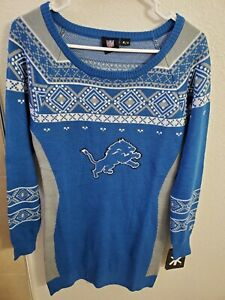 "NFL Team Apparel Detroit Lions Women's  Tunic Sweater Blue M(32""Bust/31""L) NWT"