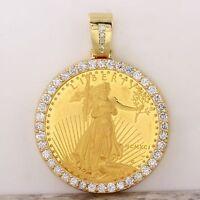 1991 1 oz Gold American Eagle BU (MCMXCI)  & 2.80Ct Diamond Coin Pendant 48g.