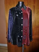 KOOS of Course ! Velvet Rayon Silk Patchwork Polka Dots Blouse Top Shirt