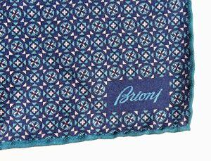 Brioni Roma Blue Hand-Rolled Silk Pocket Square / Handkerchief - Italy - $160.00