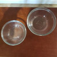 Set of 2 Vintage Clear Glass ANCHOR HOCKING Nesting Mixing Bowls 1.0qt and 1.5qt