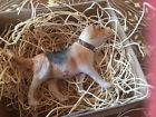 "New 3D Dresden Foxhound Dog Paper Christmas Ornament Glass Eyes n Collar 3"" Long"