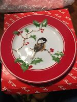 Fitz Floyd Japan Porcelain 7 1/2 Inches Plate - Christmas Chickadee New In Box