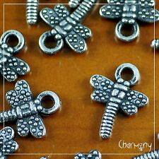 ACRYLIC Antique Silver Dragonfly charms ~PACK of 20~ plastic loom bead craft