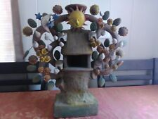 "Vintage Mexican Pottery Tree of Life Candle Holder Flowers and Birds 8"" x 9"""