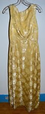 "Vintage 1960s Golden Yellow Brocade Floral Flower Long Dress 24"" Bust"