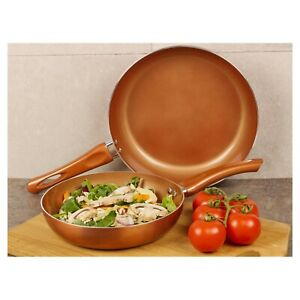 2 Piece URBN-CHEF Ceramic Copper Induction Frying Pans Saucepans Cookware Set