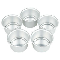 "5pcs 2"" DIY Aluminum Alloy Round Mini Cake Pan Removable Mold Baking Bake Tools"