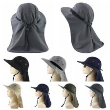 Summer Outdoor Sun Hat With Neck Flap Cover UV Protection Fishing Cap Wide Brim