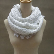 Women Knit Scarf Warm Soft Winter Neck Circle Wool Cowl Shawl White with Silver