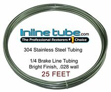 Stainless Steel Brake Line Tubing Kit 1/4 OD 25 Foot Coil Roll AN 45 Flare SAE