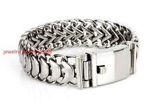 Men's Bracelet Stainless Steel Snake Bone Chain XAMS Jewelry Silver 19mm 8.66''
