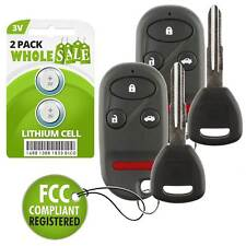 2 Replacement For 99 00 01 02 1998 1999 2000 2001 2002 Honda Accord Key + Fob