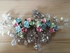 Bridesmaid Bridal Silver Gold Austrian Crystal Multicolour Rose Hair Comb