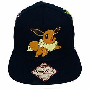 Pokemon Evee Black Embroidered Nintendo Licensed Snapback Hat Trucker Cap