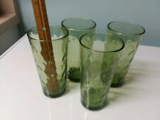 GREEN DEPRESSION GLASS SET OF 4 TUMBLERS