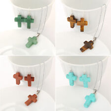 Cross Jewelry Sets Natural Stone Gem Pendant Chain Necklace Drop Hook Earrings