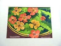 Original Watercolor Painting R. Linde Nasturtiums Floral Signed Art Flowers
