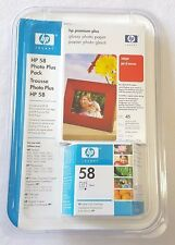 HP 58 Photo Plus Pack Tri-Color Ink Cartridge C6658AC Glossy Paper 4x6 Apr07 OEM
