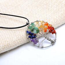 Tree of Life Natural Crystal Quartz Gemstone 7 Chakra Healing Pendant Necklace