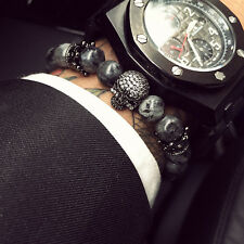 Charm Men CZ Skull Crown India Labradorite Stone Beads Bracelet Handmade Jewelry
