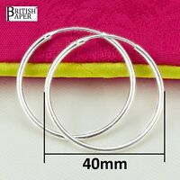 Pair 40mm Solid 925 Sterling Silver Hoop Sleeper Earrings Nose Clip Stud On Ring