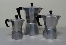 VINTAGE ITALIAN 1930s CHROME & BLACK BAKELITE (3) ASSORTED SIZED COFFEE POTS