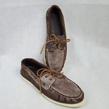 f85a0ed79c2bd Tommy Hilfiger Tollman Brown White Dusty Leather Moc Boat Shoes Men 8.5