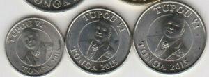 TONGA: 2015 4-PIECE UNCIRCULATED COIN SET:  5 TO 50 SENITI