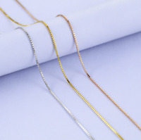 Multi-Color Classic Real 925 Sterling Silver Box-Chain Necklace Jewelry Italy