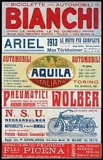 ADVERTISING' BIKE BIANCHI MOTORCYCLE ARIEL N.S.U. CAR EAGLE WOLBER F LLI PICENA