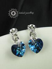 Ocean Blue Crystal Heart Earring/ME023S