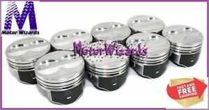 Chevy 350 5.7 SBC SPEED PRO H345DCP Pistons 8-PACK Hypereutectic Flat Top STD