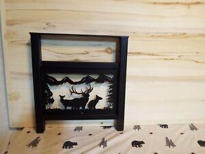 Laser Cut Steel Coffee Table Legs Bull & Cow elk scene hunt decor Powder Coat