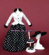 Black & White Polka Dot Skirt Forties 40's 1940's Fashion for Barbie Doll Q