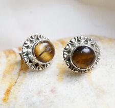 Handarbeit Vintage Ohrstecker Antik Design Silber Verspielt Tigerauge Gold Braun
