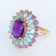Womens 10k Solid Gold Ring Amethyst Blue Topaz Large 6.73tcw Designer Sign 9 1/4
