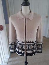 Croft & Barrow Women's S Knit Sweater Multi Color Zipper Snowflakes Sequins