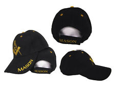 Black and Gold Mason Masons Freemason Masonic Lodge Ball Cap Hat Quality