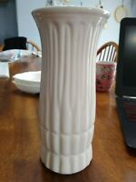 🌈 Vintage Art Pottery Vase Large Thick Simple White Ribbed Block Pattern EC