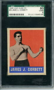 1948 Leaf Boxer # 55 James J. Corbett Graded Card SGC 80 = PSA 6 Boxing