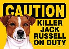 Killer Jack Russell On Duty Dog Sign Magnet Hook & Loop Fastener 5x7