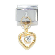 Gold heart CLEAR stone dangle Italian Charm - fits 9mm Classic charm bracelets
