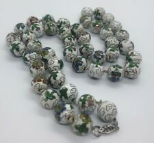 "Cloisonne Enamel Beads Knotted Chinese Vtg Sterling Silver 27"" Necklace 925 99g"
