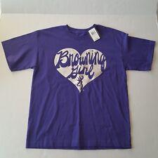 Browning Girl T-Shirt Purple Silver Print Heart Short Sleeve Youth XL